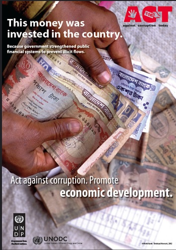 La corruption comme obstacle au développement économique. Campagne mondiale de deux agences des Nations-Unies pour la promotion d'un programme de réforme des finances publiques. UNDP & UNODC 2011 (Licence CC-BY-NC-ND 2.0).